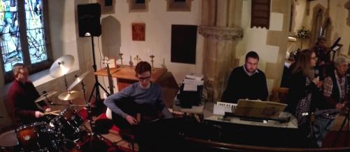 Worship Band at Down Hatherley Benefice Service 14/1/18
