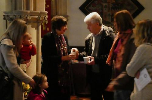 Bishop Rachel meeting the congregation at Benefice Service