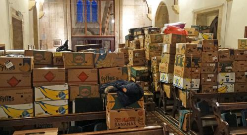 Packed boxes for Samaras Aid after one day's work!