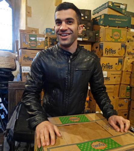 Preparing Samaras Aid boxes for loading