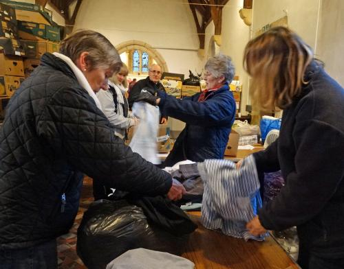 Sorting gifts for Samaras Aid Coillection January 2018